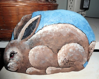 Rock painting Peter Rabbit