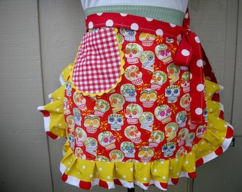 Womens Aprons - Aprons with Skull Fabric - Tattoo Aprons - Calaveras Aprons - Red Skull Aprons - Aprons with Skulls - Annies Attic Aprons