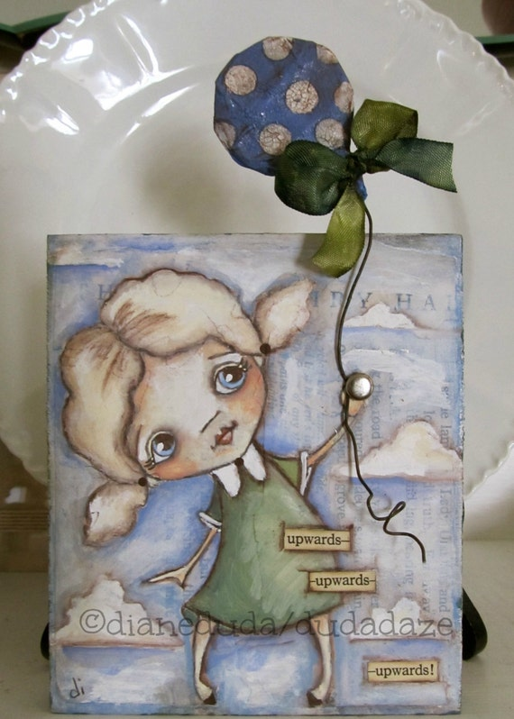 Original Folk Art Mixed Media Inspirational Painting  on wood - Upwards