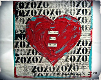 For the Love of Art handmade mixed media canvas