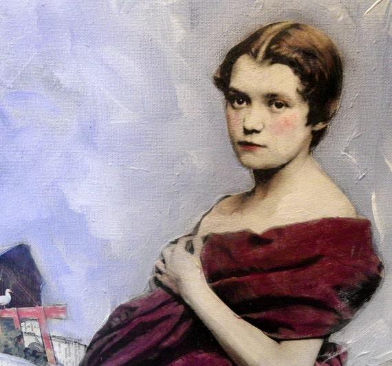 Velvet Vintage beauty plum red dress large  original  painting on stretched canvas