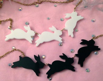 Opaque Acrylic Bouncing Bunnies Necklace in Black or White