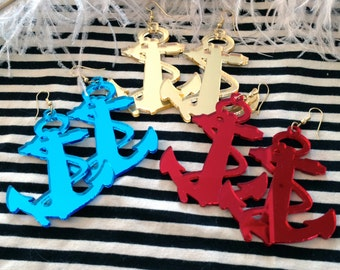 Blue, Red or Gold Acrylic Anchor Earrings