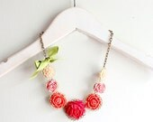 Flower bib Necklace, Statement necklace. bridal necklace, pink necklace, gift for mom