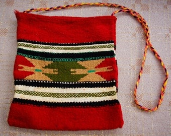 NATIVE 1970's Vintage Thick Tribal Indian Woven Bag in Red Wool and Cotton with Braided Strap