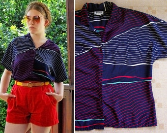Waves 1970's 80's Vintage Navy Blue Red & White Wavy Striped Shirt by NOTATIONS size Medium