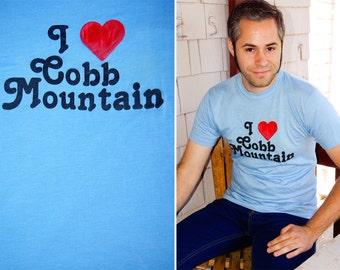 Cobb MOUNTAIN 1980's Vintage Baby Blue Souvenir T Shirt with Puffy Heart size Medium