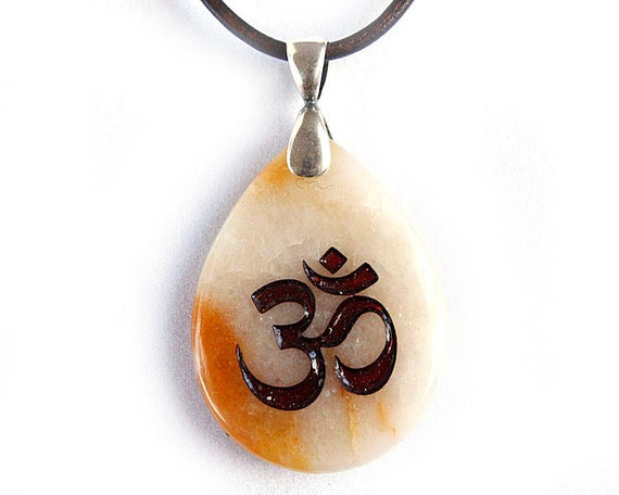 Universal OM AUM Symbol Necklace - Engraved Stone Pendant - Yellow Jasper