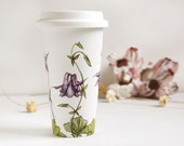 White Ceramic Eco Cup - Columbine, Botanical Collection