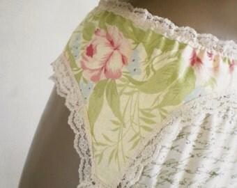 Yellow Garter Belt Romantic Shabby Rose Print Old Fashioned Nostalgic Lingerie Wedding Suspender Belt