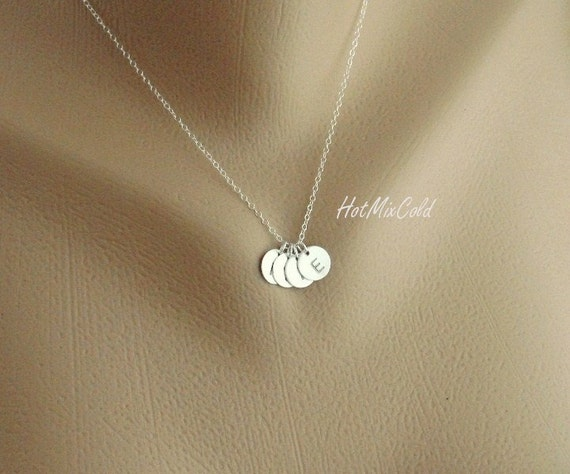 FOUR Sterling Silver Initial Necklace / Monogram Charm Family Necklace / Daily Jewelry, Sister, Children, Grandma / Mother's Day Gift