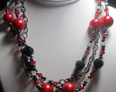 """Red Glass Pearl and Black Faceted Bead Necklace, Gunmetal Findings and Chain, 19"""" long"""