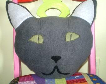 Handmade Gray Cat pillow- soft fleece kitty pillow- gray kitty face pillow- Pet pillow- 50 Shades of Grey kitty- feline pillow