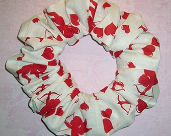 Hearts and Cupids Hair Scrunchie, Valentines Day Hair Tie