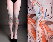 Tattoo Tights -  light pink one size Flamingo Love full length closed toe printed tights / pantyhose spring / summer