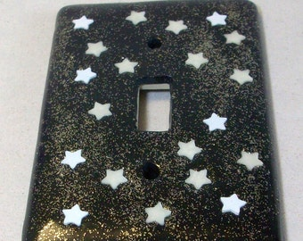 Glow in the dark stars single toggle light switch cover