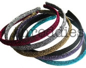 5 glitter headbands // pick your colors - skinny, shiny, sparkly, glittery