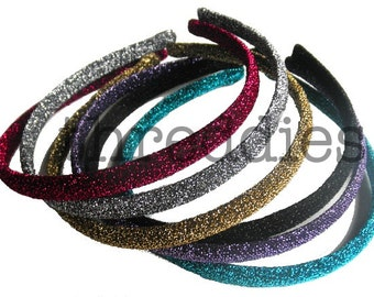 10 glitter headbands // pick your colors - skinny, shiny, sparkly, glittery
