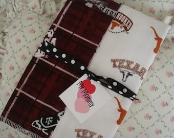 RIVAL Boy or Girl Burp Cloth Made With 100% Cotton Texas Longhorns Texas A & M Aggies    Fabric