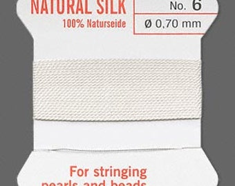 White Silk Beading Thread - Size No. 6 - B-6645