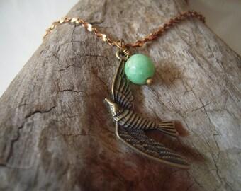 Jade Bird Vintage Chain Necklace