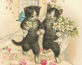 Vintage Cats Wedding 2 Cross Stitch Pattern PDF