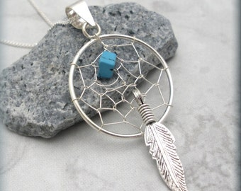 Dreamcatcher Necklace Sterling Silver Turquoise Stone Feather Dream Catcher Necklace Dreamcatcher Jewelry (SN720)