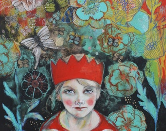 "Make Believe- 12""x16"" Fine Art Reproduction Block by Maria Pace-Wynters"