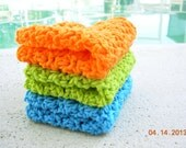 Crochet Dishcloths, Washcloths, Set of 3, Brights,Face scrub, Aqua Lime Orange, Kitchen Linens, Cleaning Cloth, Cotton