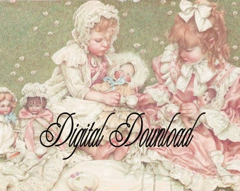 Tea party,little girls and dolls,Digital Download,,tags, frame,greeting cards, sales tags,sewing