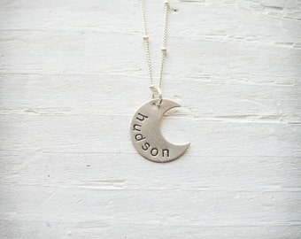 Personalized Moon Necklace Crescant Moon Pendant  Half Moon Necklace Silver Moon Charm with Name Hand Stamped Jewelry Baby Shower Gift
