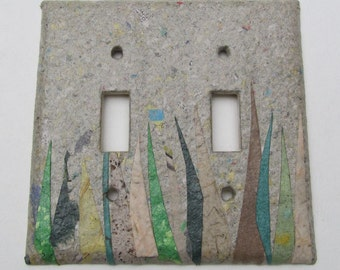 Decorative Double Grass Wall Decor Light Switch Plates, upcycled with handmade paper from reclaimed materials with Newspaper backround