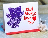 Owl Love Letterpress Valentine Card