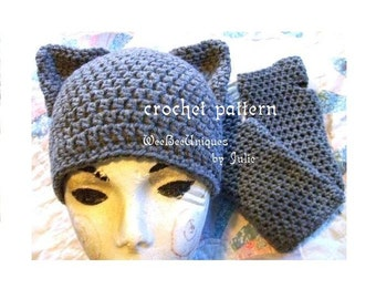 crochet pattern digital download cat hat and fingerless glove set