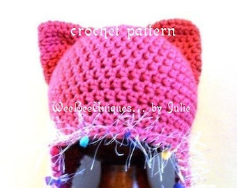 crochet pattern digital download kitty beanie ear flap hat, sizes baby and teens