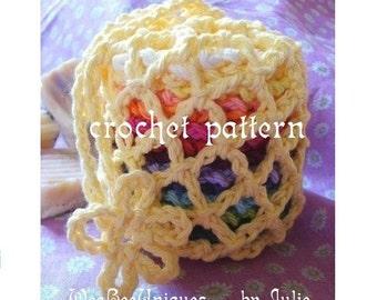 crochet pattern digital download facial scrubby set washcloth facecloth net bag spa set