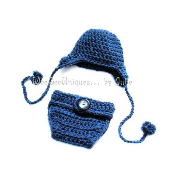 newborn photography prop little boy blue ear flap hat and diaper cover set