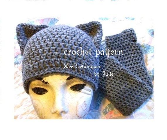 crochet pattern digital download cat hat and fingerless glove set