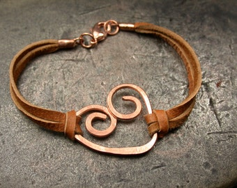 Hand Hammered Copper and Leather Heart Bracelet, Made to Order