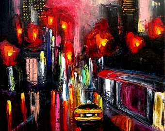 Print of original oil painting city by Aja - Faces of the City 145 16x20