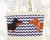 Teriyaki and BBQ the Dachshunds Navy White Chevron Stripes Grey Canvas Tote Shoulder bag