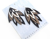Hand Cut Leather Earrings Black Silver Bronze