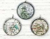 Glacier, Yosemite, or Yellowstone National Parks - Vintage Map Pendant in Handmade Sterling Setting