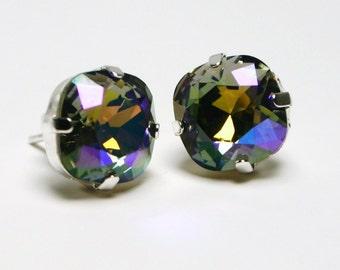 Kitten Gray Crystal Stud Earrings Black Diamond Glacier Iris Purple Blue Swarovski 10mm Sterling Silver Post - Women's Jewelry Copper Gold