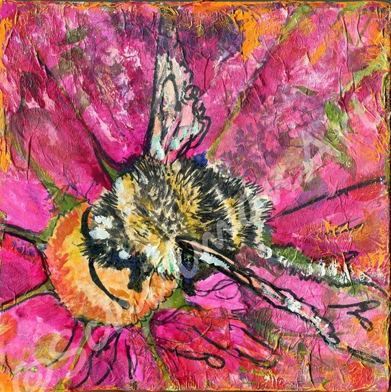 Art wall decor insect art bee painting bumblebee art hot for Bumble bee mural