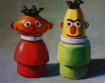 Ernie and Bert Sesame Street Fisher Price Little People Portrait Giclee Print 6x8