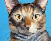 9 x 12 Life Like Custom Pet Portrait Pet Painting of your pet Cat Any Animal