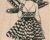 Peacock girl thistle  Steampunk  Stamp whimsical Rubber Stamp by Mary Vogel Lozinak  19069