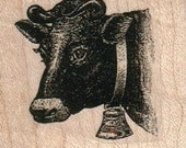 cow  with bell Rubber stamp  stamping   scrapbooking supplies 15120