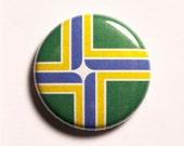 "1"" Portland OR flag button - Oregon, city, pin, badge, pinback"